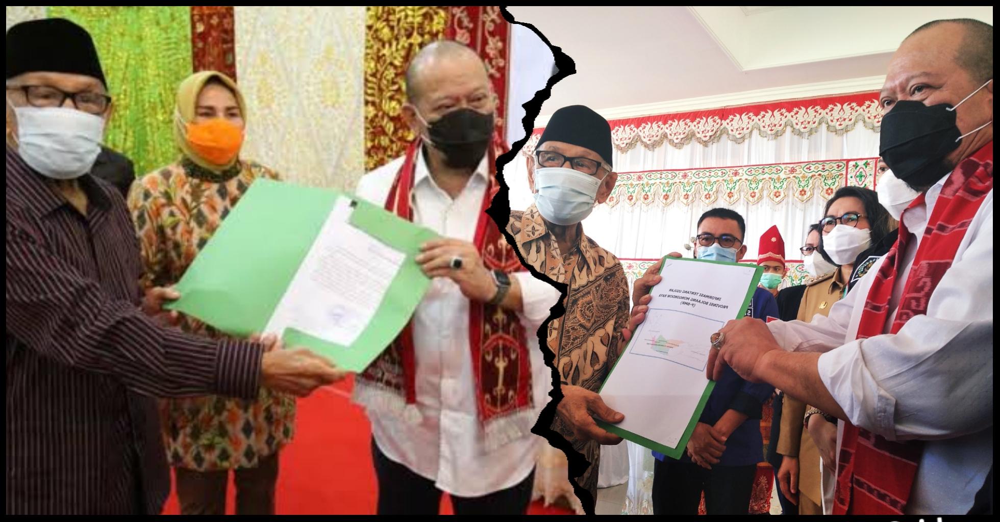 Wali Kota Kotamobagu dan Bupati Bolmong bersama Ketua Presidium Pemekaran Provinsi BMR saat menyerahkan dokumen pemekaran Provinsi BMR kepada Ketua DPD RI saat kunjungannya ke wilayah BMR beberapa waktu lalu.