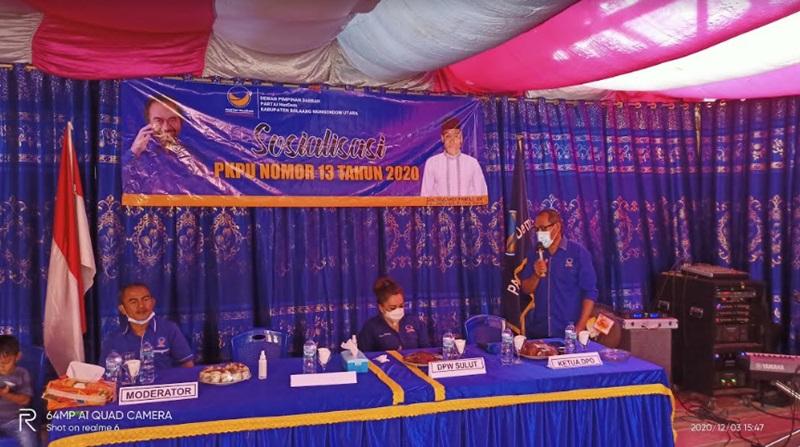 Sosialisasi PKPU Nomor 13 Tahun 2020 yang digelar DPD Nasdem Bolmut.