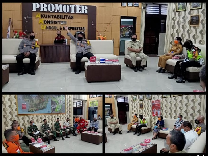 Rapat tim gabungan yang terdiri dari unsur Polres Kotamobagu, TNI, dan sejumlah intansi terkait dijajaran Pemkot Kotamobagu, Senin (28/12/2020) siang tadi.