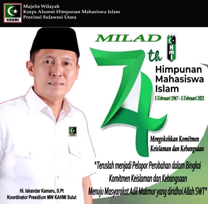 Ucapkan Selamat Milad HMI Ke-74, Iskandar Kamaru Ingatkan Kontribusi untuk Umat dan Bangsa