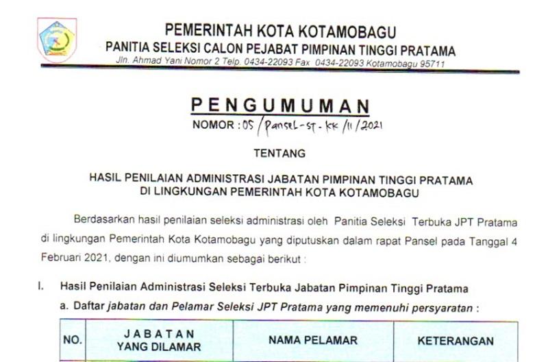 17 Nama Ini Berhak Mengikuti Seleksi JPT Pratama Kotamobagu