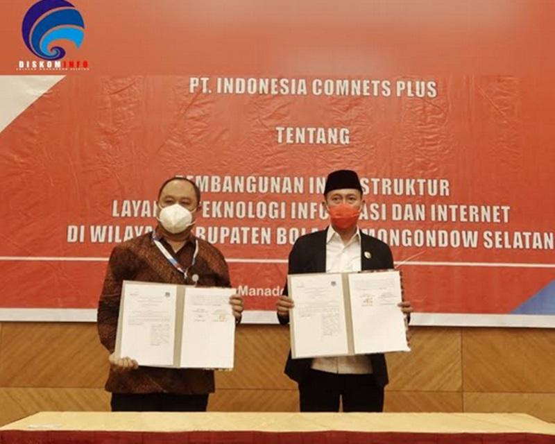 Bupati Bolsel Teken MoU Bersama PT. Indonesia Comnets Plus