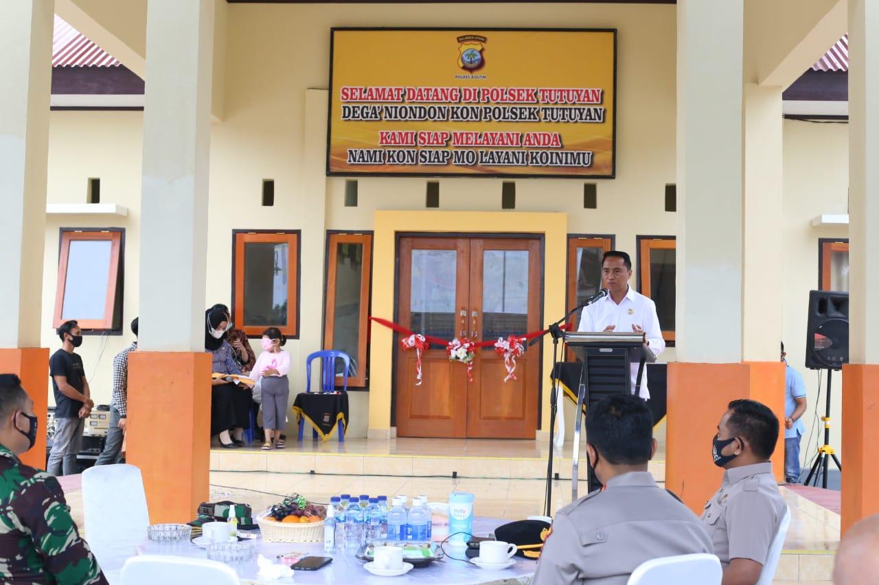 Resmikan Gedung Polsek Tutuyan, Pemkab Boltim Siap Jaga Kamtibmas Bersama Polri