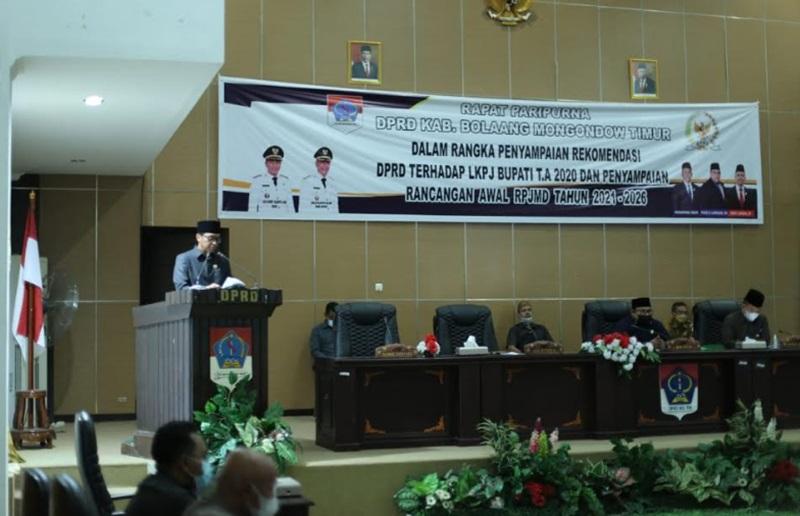 Pemkab Boltim Bersama DRPD, Gelar Paripurna Penyampaian RPJMD Tahun 2021-2026