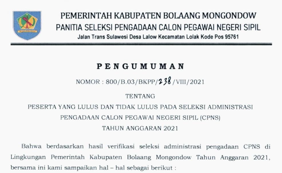BKPP Bolmong Umumkan Hasil Seleksi Administrasi CPNS Tahun 2021